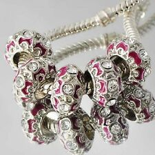 5pcs pink Enamel clear crystal large hole Beads Fit european charm Bracelets