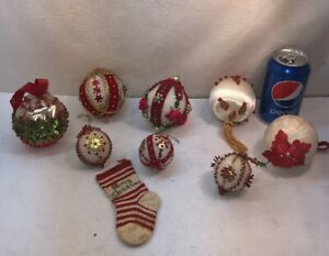 Vtg 9pc Lot Foil Red Push Pin Craft Art Foam Ornament Sequined Christmas Balls