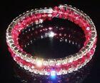 bracelet bijou style vintage tortillon 4 rangs cristal diamant perle rose *4379