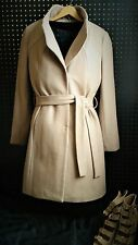 NWT T Tahari Womens Large Isabelle Wool Blend Camel Beige Coat #6220520 Coco