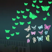 EG_ 12PCS GLOW IN THE DARK BUTTERFLY WALL STICKER DECAL KIDS ROOM HOME DECOR GRO