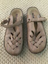 Alegria Freesia FRE-387 Pastel Shimmer Buckle Leather Weave Mule Clogs 9 EUR 39