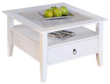 Tavolino con struttura in legno massello bianco con ripiano in vetro 93468