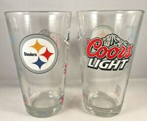 Pittsburgh Steelers Super Bowl Coors Light Beer Pint Glass 16 oz Set of 2