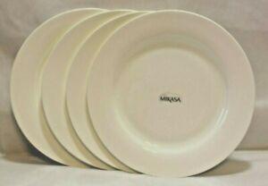 "Mikasa Lausanne White Bone China 10 1/2"" Dinner Plates Set of Four New"