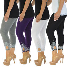 AU Women Gym Yoga High Waist Crop 3/4 Length Cotton Capri Leggings Pants Trouser