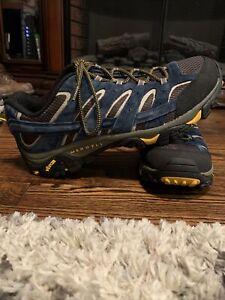 Merrell Men's Moab 2 Ventilator Hiking Shoes Size 12 J49061 Blue Lace Up Low Top