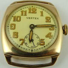 Vintage 9ct gold cushion case gents Swiss Vertex gents wristwatch Working Order