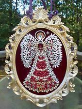 Huge !  Vintage Rhinestone Jewelry Christmas Tree Framed  Angel Art 18 x 13