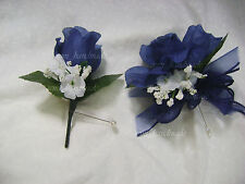 Navy Blue~Open Rose Pin Corsage~Boutonniere~wedding~Prom~party~Ouinceanera