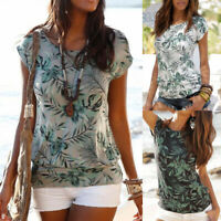 Women's Floral Short Sleeve T-shirts Summer Casual Slim Tee Beach Blouses Tops