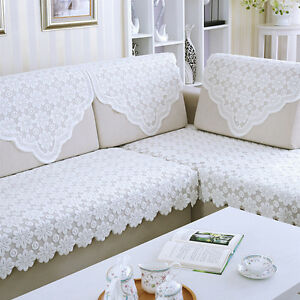 Sofa Mat White Lace Flower Furniture Slipcover Home Dustproof Couch Chair Cover