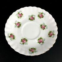 Vintage Royal Albert Forget Me Not Rose Bone China Saucer Gold Trim Pink Floral