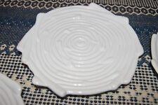 "Lot of 5 Unique White Ceramic Bamboo Design Plates About 8"""