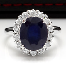 8.10Ct Natural Blue Sapphire & Diamond 14K White Solid Gold Ring