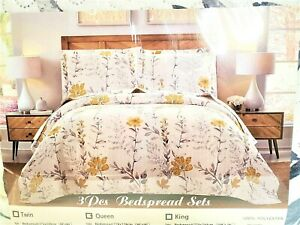 Yellow & Gray Floral 3 pc Queen Size Quilted Coverlet Bedspread & Pillow Shams