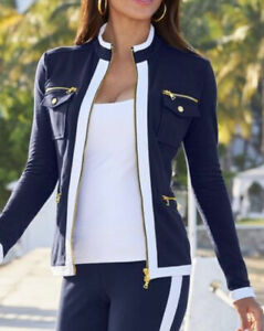 *NEW* BOSTON PROPER Nautical Zippered Jacket Top NAVY/WHITE Sz M