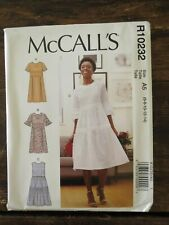 New Uncut MCCALLS Easy Pattern A5 R10232 Misses Comfortable DRESS US Size 6-14