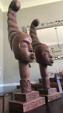 """Pair African Carved 34"""" Tall Wood Aymara Antique Indian Head Sculpture"""