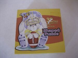 """Bunny Shaped Puzzle Football Bunny 32 Pieces Made in USA 9"""" x 12"""" NWIB"""