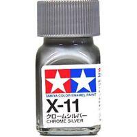 O TAMIYA COLOR GLOSS ENAMEL PAINT X-11 CHROME SILVER Model Kit Paint Brand New