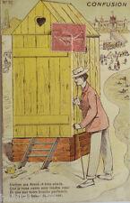 """""""Carta scherzo, Cabina, Semplice Donna, Uomini, Spiaggia, Mare """" 1910 (14970)"""
