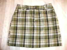 Womens St Johns Bay Olive Green Navy Blue White Plaid Summer Skort Skirt 6 NWT
