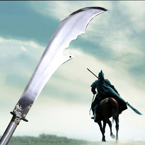 """80"""" High Manganese Steel Guan Yu's Crescent Blade Sabre Sword Steel Handle #0092"""