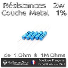 Lot de 5 Resistances 2W 1% Métal - Valeur de 1 Ohm à 1M Ohms au choix