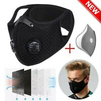 Unisex Reusable Face Mask Activated Carbon Sports Cycling Anti PM2.5 with Filter
