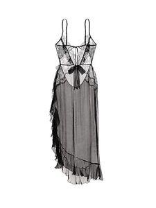 $328.00 Victoria's Secret Designer Collection Lace & Silk Slip M in black