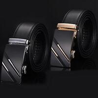 Fashion Men's Automatic Buckle Black Genuine Leather Waist Strap Belt Waistband