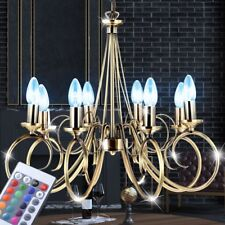 LED lustre laiton antique salon lampes suspendue dimmable télécommande RGB