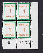 FRANCE TIMBRE FICTIF TAXE FT34 ** MNH, coin daté 20.3.80, TB