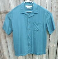 Men's Perry Ellis 100% Silk Green Short Sleeve Button Front Shirt Size Large