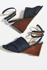 3fb9be6d2195 Topshop Whirl Denim Cross Strap High Heel Wedges. Size UK 5.