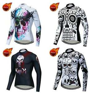 Men's Skull Winter Cycling Jersey Long Sleeve Thermal Fleece Bicycle Shirt Tops