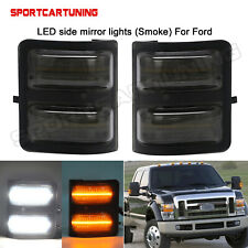 For 08-16 Ford F250-F550 Super Duty LED Switchback W/Amber Side Mirror Lights