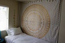Cotton Wall Hanging Hippie Bedspread Gold Ombre  Mandala Twin Tapestry Bohemian
