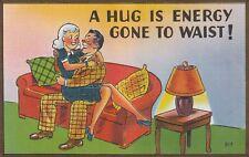 "*Humor Postcard-""Couple on Couch...""A Hug Is Energy Gone To Waist!"" (U1-873)"