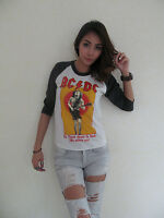 AC/DC For Theose About To Rock Raglan T-Shirt Women's White Graphic Tee Bunny