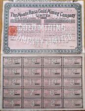 'Monte Rosa Gold Mining Company, Ltd.' 1898 Stock Certificate/Bond- London - Red