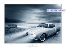 VW Volkswagen Camper Van & Karmann Ghia  Signed Ltd Edition Art Print Picture
