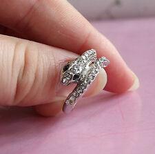 Snake Rings - Silver w/ Rhinestones - Adjustable (R31)