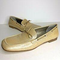 BANANA REPUBLIC Women Sz 7.5 Beige Loafer Flat Driving Shoe Tan Gold Snake ITALY