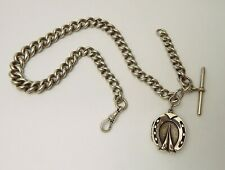 Watch Chain w/ Horseshoe Locket Fob Heavy 90 Grams Sterling Graduated Curb Link