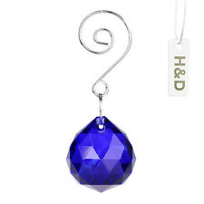 Dark Blue Glass Crystal Ball Prisms Chandelier Feng Shui Lamp Drop Pendants 30mm