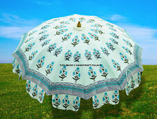 Indian Cotton Garden Umbrella Flower Hand Block Print Outdoor Patio Parasol 80""
