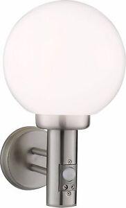 Knightsbridge IP44 E27 LED Compatible Wall Globe Light with PIR Sensor Detector