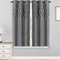"Hudson Pintuck Window Curtain Panel Pair (63""x38"") Grey - 63 grey 63 inch"